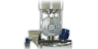 Mill for peanuts, almonds and hazelnuts consists of a pair of carriers with stones made of silicon carbide and stainless steel spiral.