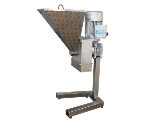 Mill for nuts consists of stainless steel hammer and toothed sieve for required granulation.